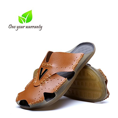 Aliwendy Leather Sandals Mens Casual Slides Non-Slip Outdoor Sports Summer Beach Closed Toe Shoes (New Brown 8 B(M) US) (Leather Slides Casual)