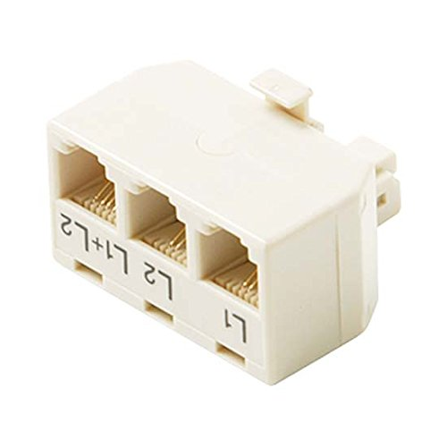 Phone Adapter Tee Splitter 2-Line 4 Wire Ivory Module Telephone 4C Tee 3-Jack Way Triple Splitter Line 1 Line 6X2 2 Line 1+2 6X4 Jack to 6X4 Plug UL High Impact ABS Plastic Gold Contacts RJ11-12