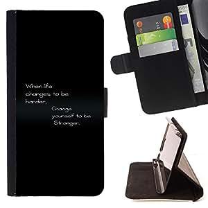 BullDog Case - FOR/Samsung Galaxy S6 / - / life harder stronges changes quote motivational /- Monedero de cuero de la PU Llevar cubierta de la caja con el ID Credit Card Slots Flip funda de cuer