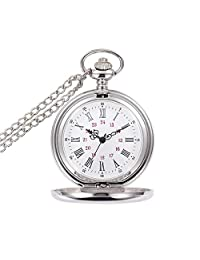Aolvo Classic Smooth Vintage Silver Quartz Pocket Watch, Retro Roman Numerals Scale Mens Womens Watch with 15 Inch Chain - Recall Old Memory - Bring Back Old Time - Touch Our Past Deep in The Soul