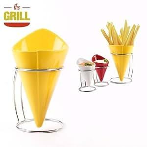 Cuenco para patatas fritas amarillo 10X10X19 Cm.