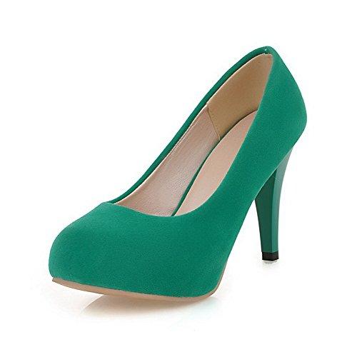 VogueZone009 Damen Nubukleder Ziehen auf Rund Zehe Hoher Absatz Rein Pumps Schuhe Grün
