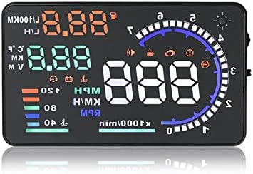 Acouto 5.5 HUD Car Head Up Display OBD II Auto Windshied Reflective,Speed Fatigue Warning,Mileage Measurement,Low Voltage//High Temperature Alarm,Multiple-color Bright