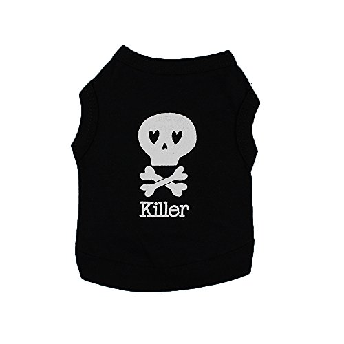 Futemo Pet Black Shirts, Dog Cat Clothes Puppy Skull Vest T-Shirt Pet Summer Apparel Soft Sweatshirt (M, -