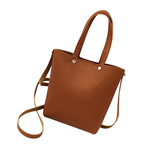 YJYDADA Bag,Fashion Women's Leather Pure color Shoulder Bags With Corssbody Bag&Handbag (Brown) from YJYDADA