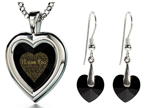 925 Silver Black Heart Jewelry Set I Love You Necklace 120 Languages CZ Inscribed and Crystal Earrings by Nano Jewelry