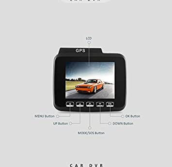 Vehicle DVR Dash Cam 2.4 with Built-in GPS Dual Camera Full HD 1080P Front Camera Wide Angle Model GS63H