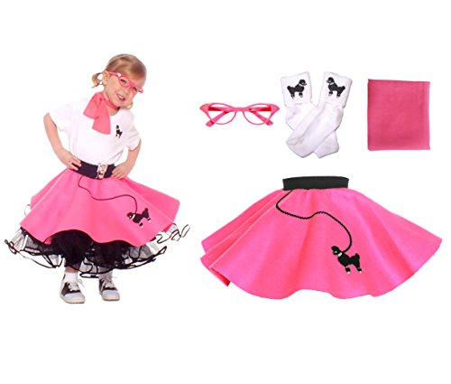 Baby 50s Costumes (Hip Hop 50s Shop Toddler 4 Piece Poodle Skirt Costume Set Hot Pink)