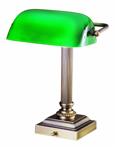 House of Troy DSK428-G71 Shelburne Collection 13-3/4-Inch Portable Desk Lamp, Antique Brass with Green Glass Shade Antique Brass Portable Table Lamp