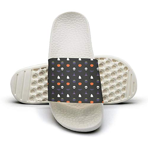 Women's Vintage Slipper Halloween Ghost Patternwhite Foam Open Toe Flat Slide Sandal
