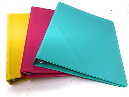 3 Ring Binders Colored (Durable Fashion Color 3 Ring Binder, 1 inch Round Rings, Customizable Binder, 3 Pack (Yellow, Pink, Teal))