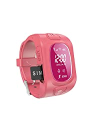 GPS Tracker SOS Emergency Call Anti Lost Smart Wrist Watch Phone for Kids (Red)