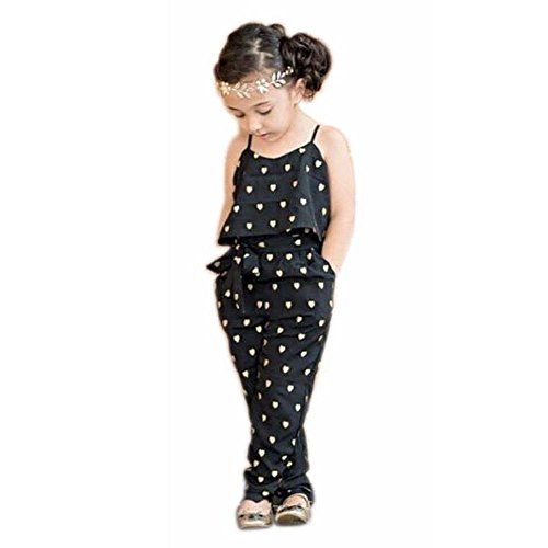(2017 Hot Fashion Toddlers Children Girls Love Heart Straps Jumpsuits by FEITONG (7T(6-7Y), Black))