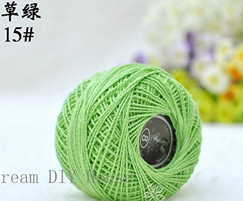 Zamtac 10 Rolls Green Color 9s/2 100% Cotton Stitch Embroidery Thread Crochet Thread Hand Cross Embroidery Thread