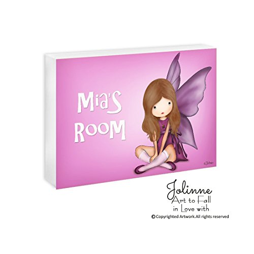 Personalized Christmas Gift for Girls Custom Name Plaque Angel Wall Art Kids Room Customized Hair and Skin Color 5''x7''/8''x10''/11''x14'' Ready To Hang by Jolinne