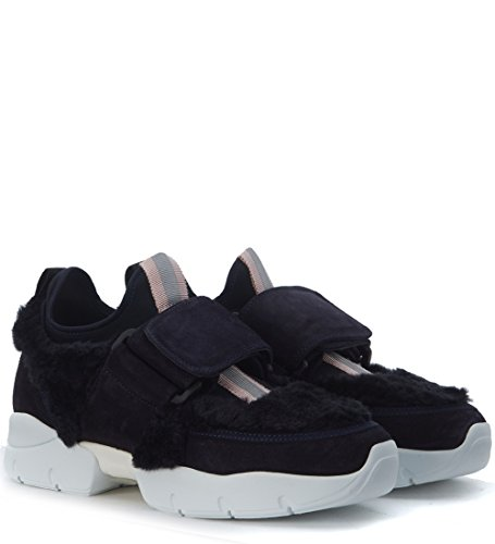 Blue MSGM With Suede Blue Dark Ecofur In Sneaker Woman's xqaS6qrY