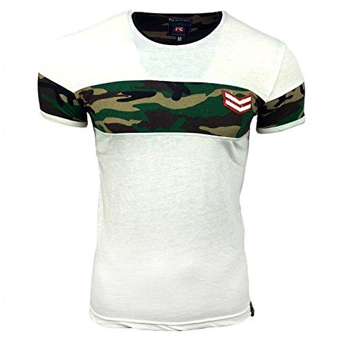 Herren T-Shirt Camouflage Weiß Fitness Sport Damen Eye Catcher Athletics Gym Neu, Größe:M, Farbe:Ecru