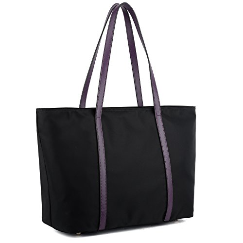 - YALUXE Tote for Women Leather Nylon Shoulder Bag Women's Oxford Nylon Large Capacity Work fit 15.6 inch Purple