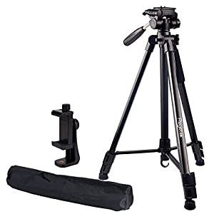 """Regetek Travel Camera Tripod (Aluminum 63"""" Adjustable Camera Stand with Flexible head) --Portable Tripod for Canon Nikon Sony DV DSLR Camera Camcorder Gopro Action Cam/iPhone & Carry Bag & Phone Mount"""