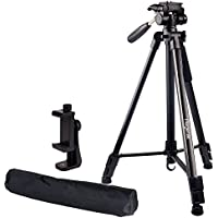 Regetek Travel Camera Tripod (Aluminum 63 Adjustable Camera Stand with Flexible head) --Portable Tripod for Canon Nikon Sony DV DSLR Camera Camcorder Gopro Action Cam/iPhone & Carry Bag & Phone Mount
