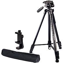 "Regetek Travel Camera Tripod (Aluminum 63"" Adjustable Camera Stand with Flexible Head) -Portable Tripod for Canon Nikon Sony DV DSLR Camera Camcorder Gopro Action Cam/Phone & Carry Bag & Phone Mount"