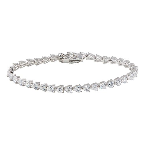 Princess Kylie Round Clear Cubic Zirconia Heart Shape Tennis Bracelet Rhodium Plated Sterling Silver