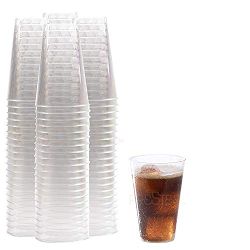 DRINKET Heavy Duty Crystal Clear Glasses Round Hard Plastic Cups Wine Tumbler Disposable 12 oz For Party Cocktail Whiskey Beer Scotch Champagne Flutes Cocktail 100 Count Bulk Water Punch Drinking Cup -