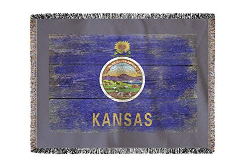Lantern Press Rustic Kansas State Flag 52548 (60x80 Woven Chenille Yarn Blanket) ()