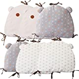 Baby Crib Bumper, Kakiblin Breathable Cradle Bumper Pads Cotton Crib Rail Cover Non Toxic Padded Bed Cushion Toddler Nursery Decor, 6 PCS, Multi-Color