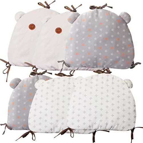 Baby Crib Bumper, Kakiblin Breathable Cradle Bumper Pads Cotton Crib Rail Cover Non Toxic Padded Bed Cushion Toddler Nursery Decor, 6 PCS, Multi-Color ()