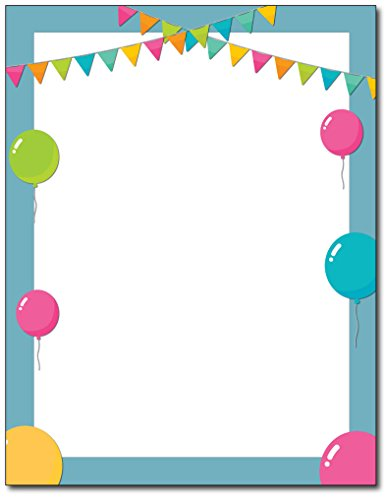 Birthday Balloons Party Stationery Paper - 80 Sheets - Great for Kid's Party Invitation or Event Flyers