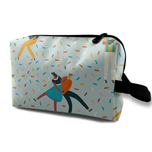 Funny 3D Printing women cosmetic bag Sock Hop Dance Party Blue_187 Travel Makeup Bags 4.9 x 6.3 x 10 inch