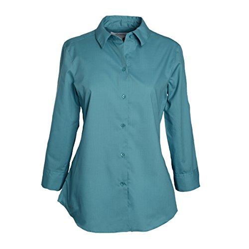 Foxcroft Woman's Plus 3/4 Sleeve CVC Solid Blouse Wrinkle Free Shaped Fit (Teal Haze, 22 ()