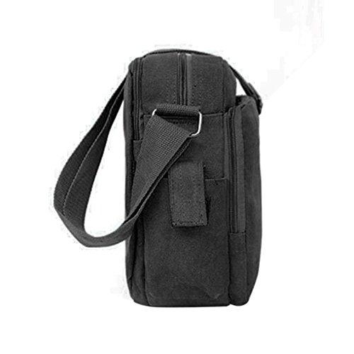 Noir Capacité sac bandoulière sac à Femmes solide Arichtop unisexe en Hommes sangle simple toile Grand bandoulière Multifonctionnel aqTApSx