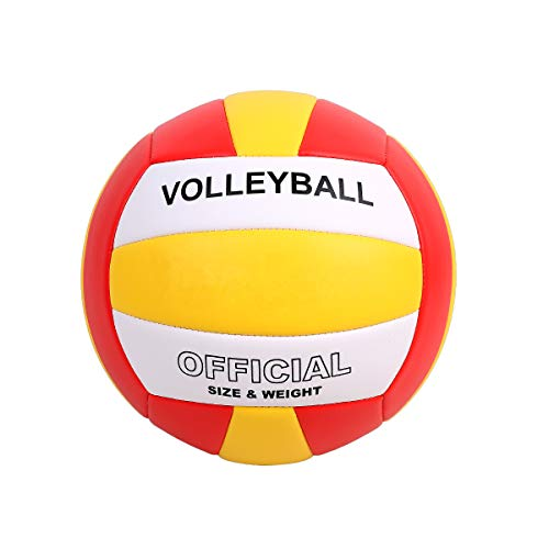 YANYODO Official Size 5 Volleyball, Soft Indoor Outdoor Volleyball for Game Gym Training Beach Play,Yellow/White/Red