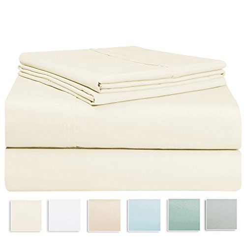 400 Thread Count Sheet Set, 100% Long-staple Cotton Ivory King Sheets, Sateen Weave Bedsheets, Stylish 4-inch hem, upto 17 inch Deep Pocket by Pizuna Linens (100% Cotton Sheet Set Ivory King) (King Fitted Sheet Cotton Only)