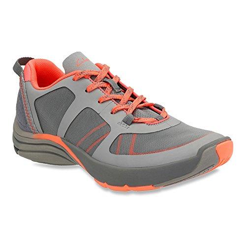 Clarks Women's Wave Kick Lace Up Shoe,Grey Mesh,US 11 M