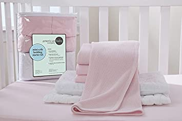 American Baby Company 3 Pack 100/% Natural Cotton Value Jersey Knit Fitted Portable//Mini-Crib Sheet for Girls 24 x 38 x 5 Soft Breathable Pink