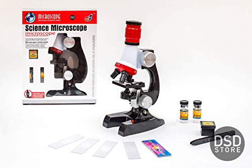 DSD Store Great Microscope for Kids with 100x, 400x, 1200x Magnification and Electric Light for Little Scientist to Enjoy Micro World