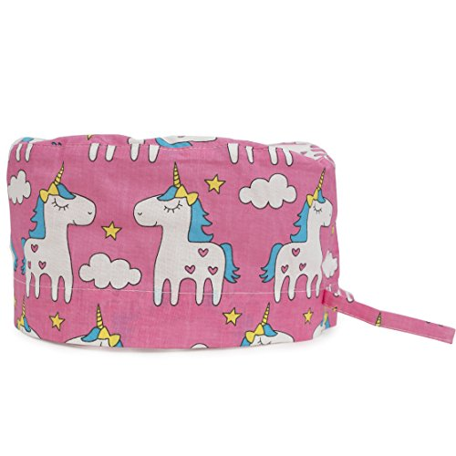 (Scrub Cap Surgical Hat Unisex Animal Print Medical Uniform Unicorn (Pink))