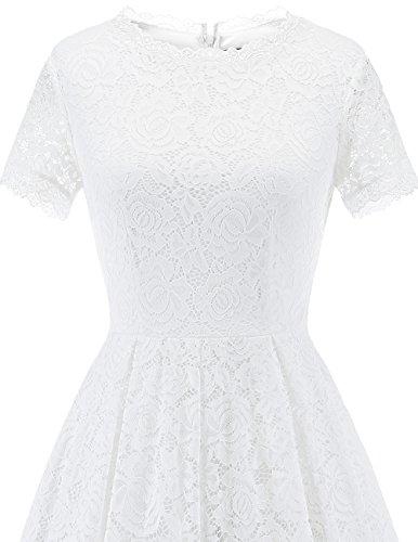 Floreale Pizzo Abiti Sera Manica Corta Da Bianco Cocktail Con Da Abito Damigella Dresstells Donne SfUw55