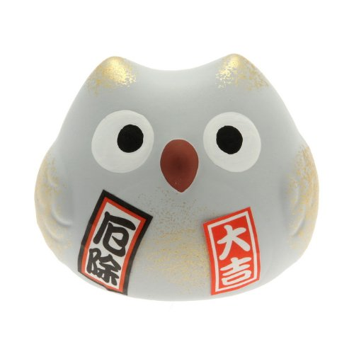 Kotobuki Fukuro Owl Charm Yakuyoke-un Collectible Figurine Warding Off Bad Spirits, Grey 590-201