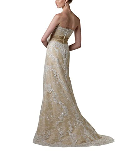 ueber Satin Spitze Brautkleider GEORGE Sekt BRIDE Elegante Hochzeitskleider Zug wulstige Gericht StqtIfxwX