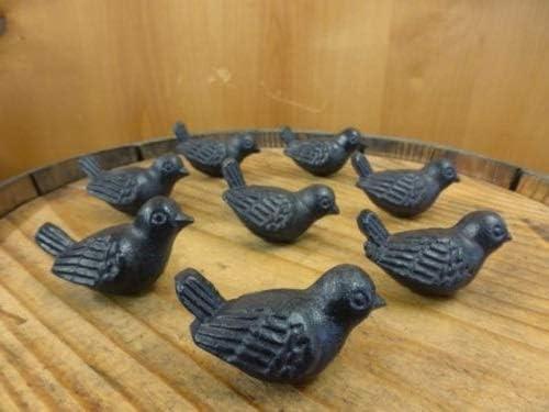 8 CAST IRON BIRD CABINET KNOBS PULLS DRAWER DRESSER HANDLES RUSTIC BIRDS SPARROW
