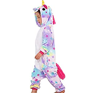 QIJOVO Kids Unisex Animal Unicorn Pajama Onesies Cosplay Costume Outfit Halloween Costume Christmas Birthday Gifts