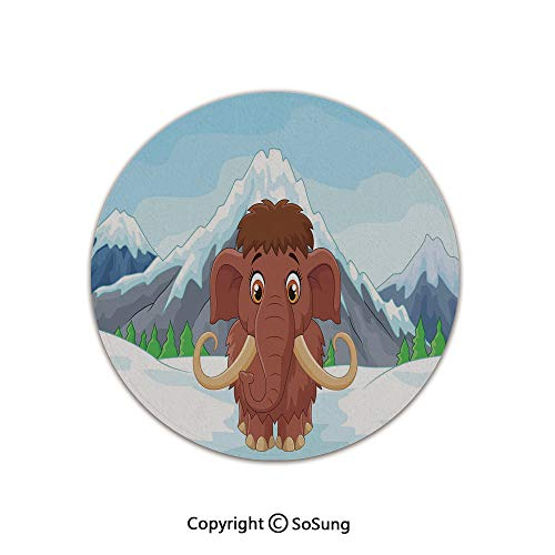 3D Printed Modern No-Shedding Non-Slip Rugs,Baby Mammoth in Ice Snowy Mountain Winter Cheerful Animal Prehistoric Design Decorative 6' Diameter Brown and Blue,Machine Washable Round Bath Mat