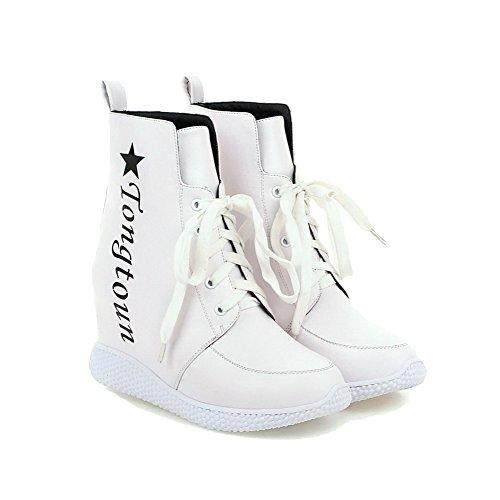 AllhqFashion Damen Gemischte Farbe Hoher Absatz Schnüren Rund Zehe Stiefel mit Knoten Weiß