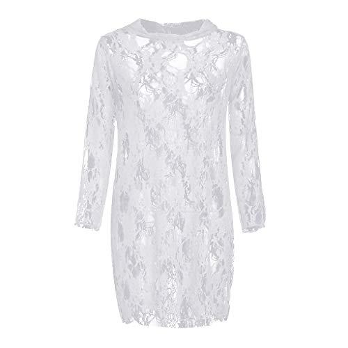 - Fitfulvan Womens Sexy Sheer Lace Babydoll Dress Lingerie Longsleeve Mini Nightdress Perspective Comfort Beauty Pajamas White