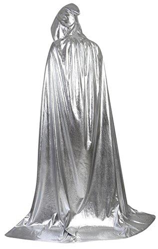 Frawirshau Unisex Hooded Cloak Cape Full Length Halloween Cosplay Costumes Masquerade Cloak Silver - Silver Jacket Costume