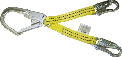 Hooks 2 Locking Snap - Miller Titan by Honeywell T8221W/4FTYL 4-Feet Web Positioning Assembly with Two Locking Snap Hooks and One Locking Rebar Hook